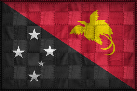 Papua New Guinea flag pattern on synthetic leather texture