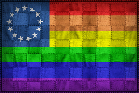 13-Star LGBT Rainbow flag pattern on synthetic leather texture