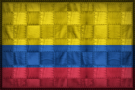 Colombia flag pattern on synthetic leather texture Stock Photo