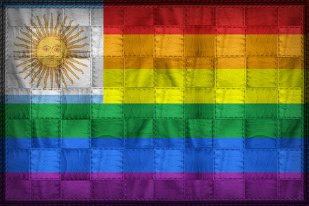 Argentina Gay flag pattern on synthetic leather texture