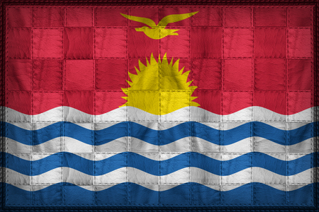 Kiribati flag pattern on synthetic leather texture Stock Photo