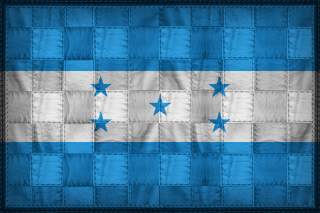 Honduras flag pattern on synthetic leather texture Stock Photo
