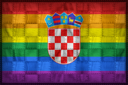 Croatia Gay flag pattern on synthetic leather texture Stock Photo
