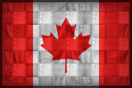 Canada flag pattern on synthetic leather texture