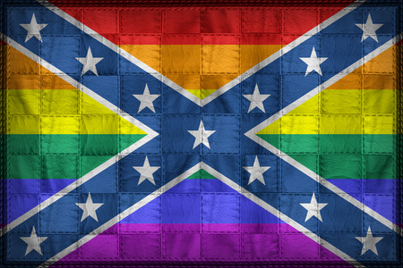 Confederate LGBT flag pattern on synthetic leather texture Stock Photo