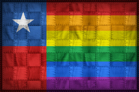 Chile Gay flag pattern on synthetic leather texture