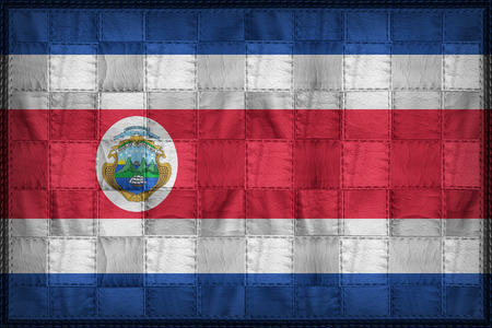 Costa Rica flag pattern on synthetic leather texture Stock Photo