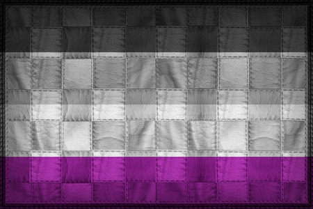Asexual or Demisexual Pride flag pattern on synthetic leather texture