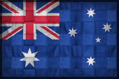 Australia flag pattern on synthetic leather texture Stock Photo