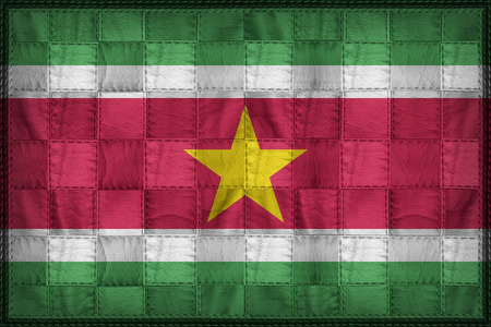 Suriname flag pattern on synthetic leather texture