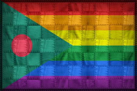Bangladesh LGBT flag pattern on synthetic leather texture