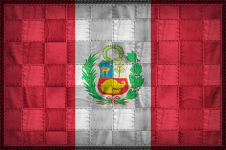 National flag of Peru on synthetic leather texture