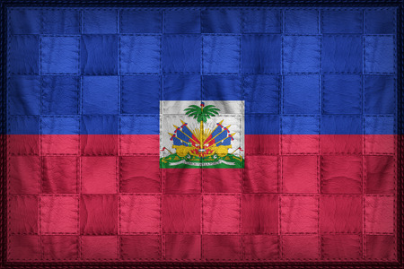Haiti flag pattern on synthetic leather texture