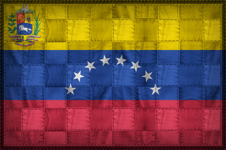 State flag of Venezuela on synthetic leather texture Stock Photo