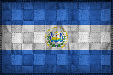El Salvador flag pattern on synthetic leather texture