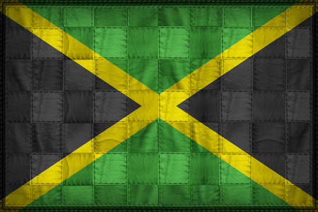 Jamaica flag pattern on synthetic leather texture