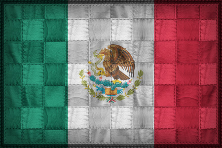 Mexico flag pattern on synthetic leather texture