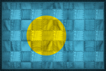 Palau flag pattern on synthetic leather texture