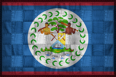 Belize flag pattern on synthetic leather texture