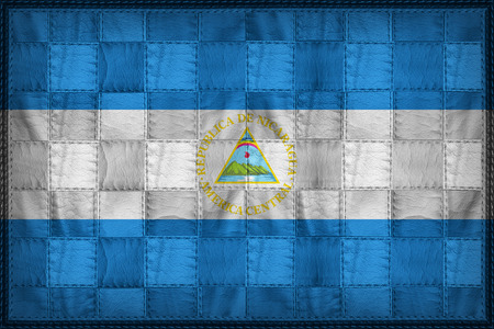 Nicaragua flag pattern on synthetic leather texture