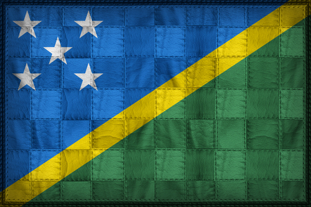 Solomon Islands flag pattern on synthetic leather texture Stock Photo