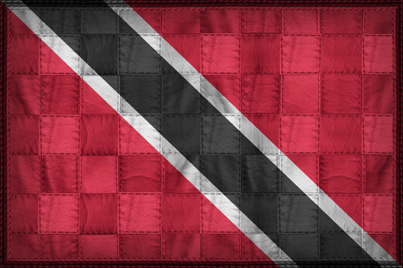 Trinidad and Tobago flag pattern on synthetic leather texture Stock Photo