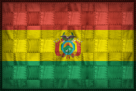 bandera de bolivia: Bolivia flag pattern on synthetic leather texture