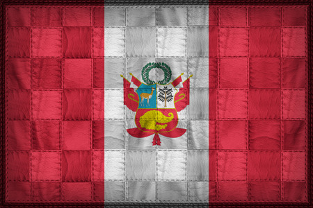 War flag of Peru on synthetic leather texture Stock Photo