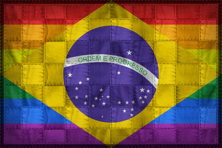 Brazil Gay flag pattern on synthetic leather texture
