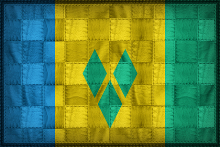 Saint Vincent and the Grenadines flag pattern on synthetic leather texture Stock Photo