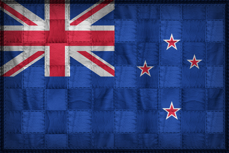 New Zealand flag pattern on synthetic leather texture Stock Photo