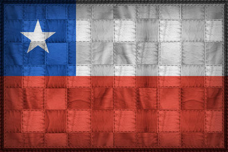 Chile flag pattern on synthetic leather texture