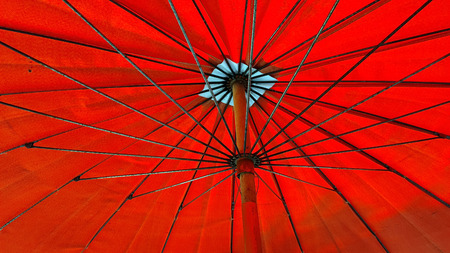 Bottom view of red umbrella Stock Photo
