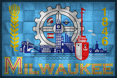 Milwaukee flag pattern on synthetic leather texture Stock Photo