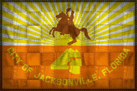 Jacksonville flag pattern on synthetic leather texture