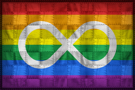 tolerancia: Metis Rainbow flag pattern on synthetic leather texture