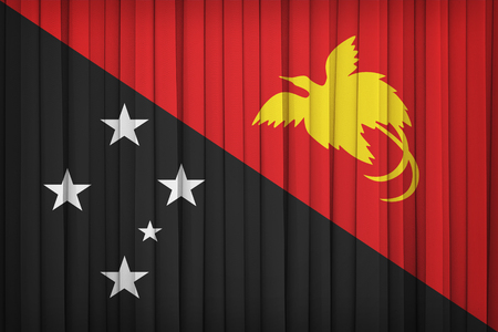 retrospective: Papua New Guinea flag pattern on the fabric curtain,vintage style Stock Photo