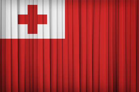 Tonga flag pattern on the fabric curtain,vintage style