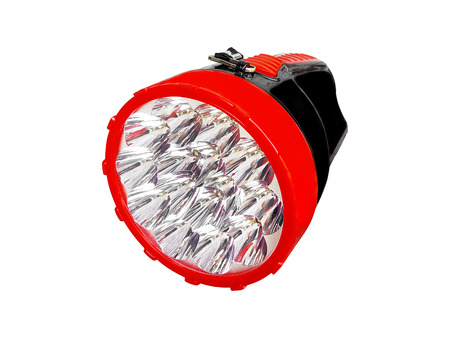 LED pocket flashlight on white background