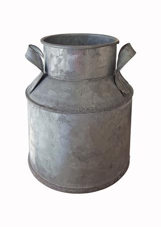retro zinc bucket on white background