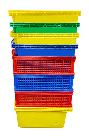Plastic crates on white background Stock Photo