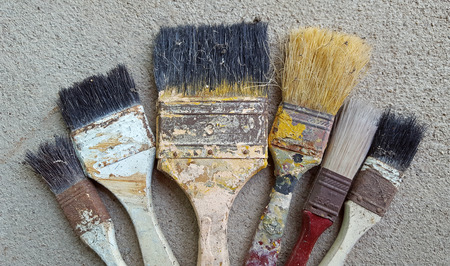 Old and dirty paint brush Stock Photo
