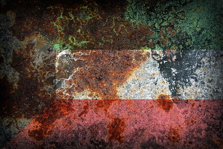 Kuwait flag pattern on old rusty metal texture Stock Photo