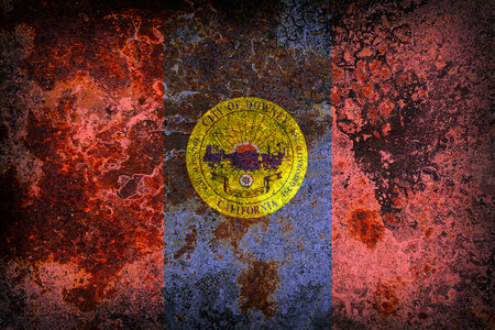 Downey county flag pattern on old rusty metal texture