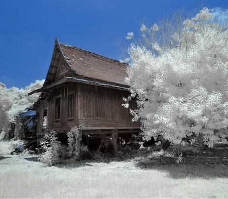 old retro Thai house taken in Near Infrared