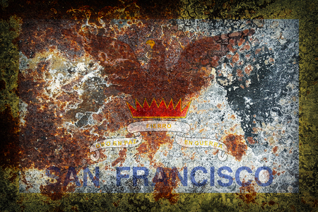 San Francisco county flag pattern on old rusty metal texture
