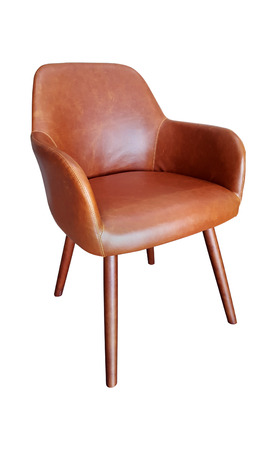 Brown leatherette chair on white background Stock Photo