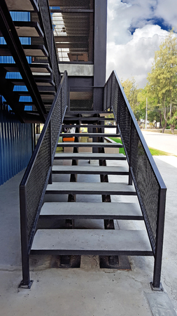 Stairs made of cement and steel Banco de Imagens
