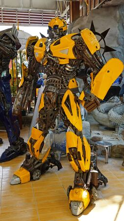 CHACOENGSAO,THAILAND - FEBRUARY 02, 2019: The Replica of Bumblebee robot made from iron part of a Car is shown in the Wat Samanrattanaram temple area Editoriali