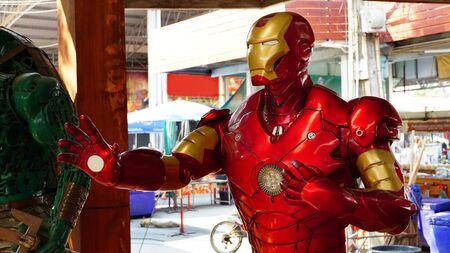 CHACHOENGSAO, THAILAND - FEBRUARY 02, 2019: Iron Man model is shown in the Wat Saman Rattanaram temple area Editorial